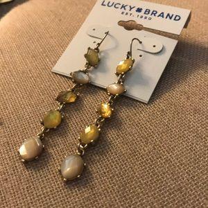NEW linear multi stone long earrings